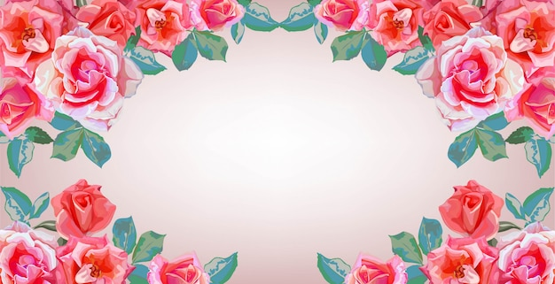 Banners of roses flowers bouquets frame