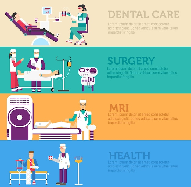 Banners set of clinic dental,surgery, health care and medical examination doctor collection concept.