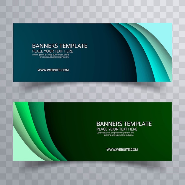 Banners set colorful template wave design vector