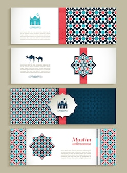 Banners set of ethnic design religion abstract set
