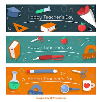 Banners set of happy teacher's day with elements