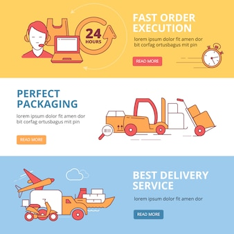 Banners set for logistics and delivery business theme
