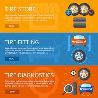 タイヤサービスのバナーセット。自動車修理、車の要素と診断のステーション