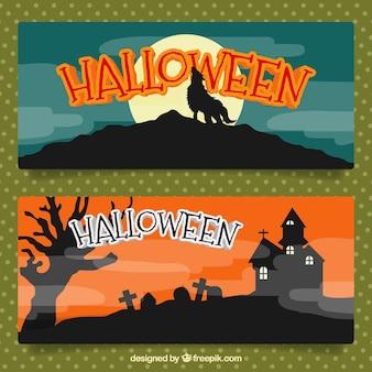 Banner set di paesaggi terrificanti