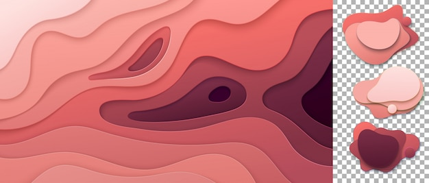 Banners set with 3d abstract background and paper cut shapes. cardboard wavy pink layers