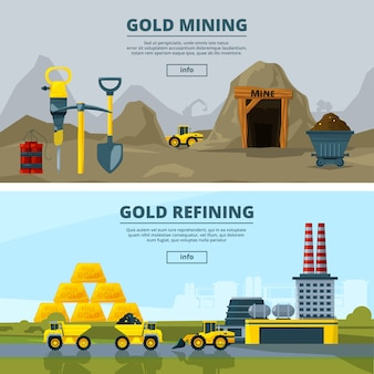 Banners set with mining industry