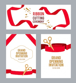 Banners set with pictures with red ribbons for ceremony. vector scissors cut ribbon, ceremony invitation illustration