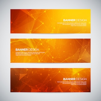 Banners set with polygonal abstract shapes, with circles, lines, triangles. abstract polygonal low poly banners with connecting dots and lines. connection structure.