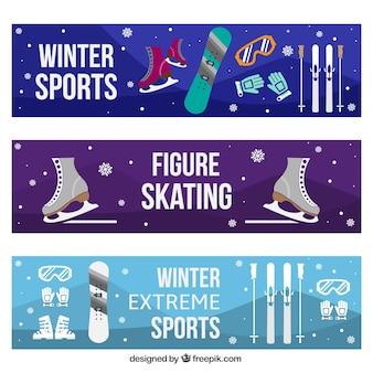 Banner set con oggetti degli sport invernali
