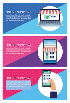 Banners shopping online with laptop and smartphones  illustration