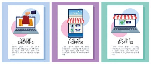 Баннеры, делающие покупки онлайн с ноутбуками и иллюстрацией смартфона
