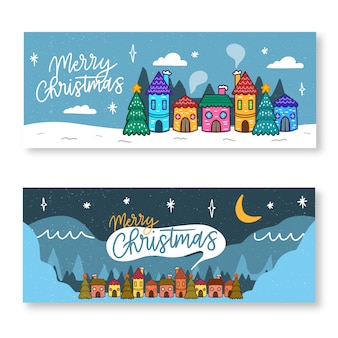 Banners of silent christmas town night hand drawn