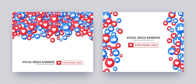Banners for social media with like hearts and thumb up icons.