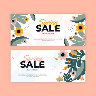 Banners spring sale in flat design