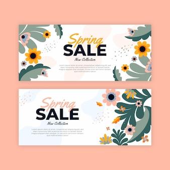 Баннеры весенней распродажи в плоском дизайне