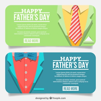 Banners of suit with necktie and bow tie Free Vector