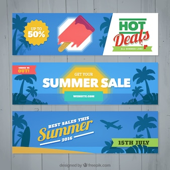 Banners of summer offers with palm trees