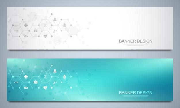 Шаблон баннеров для здравоохранения и медицинского украшения с иконами и символами. концепция науки, медицины и инновационных технологий.
