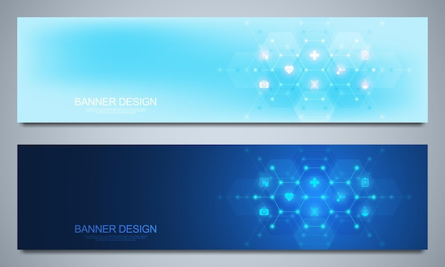 Banners template for healthcare and medical decoration with flat icons and symbols.