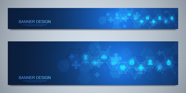 Banners  template for healthcare and medical decoration with  icons and symbols. science, medicine and innovation technology concept.