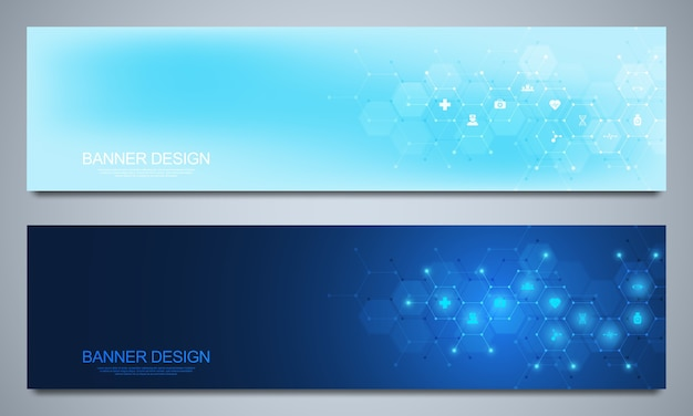 Banners  template for healthcare and medical decoration with  icons and symbols.