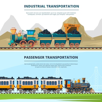 Banners template with colored illustrations of retro trains