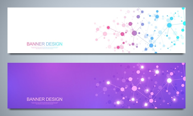 Banners  template with molecular structures and neural network. abstract molecules and genetic engineering background. science and innovation technology concept.
