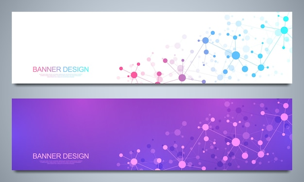 Banners  template with molecular structures and neural network. Premium Vector
