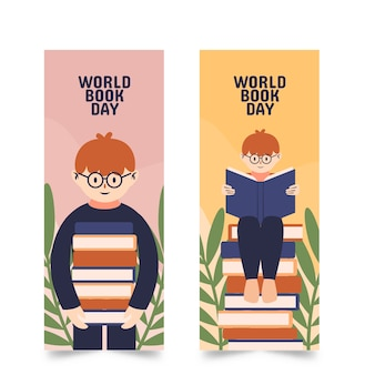 Banners template with world book day concept