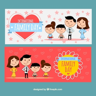 Banner di disegni famiglia unita