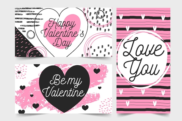 Banners for valentine day in flat design style