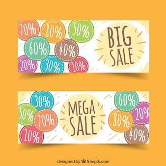 Banners of various discounts