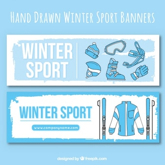 Banners of winter clothes and sport accessories