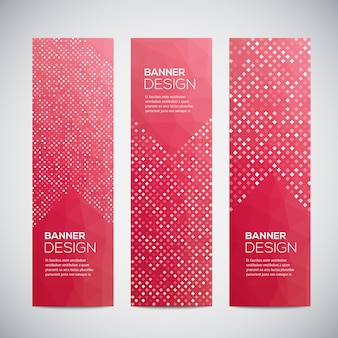 Banners with abstract colorful geometric pattern and background.