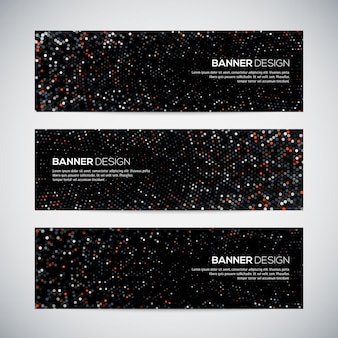 Banners with abstract colorful triangulated geometric background
