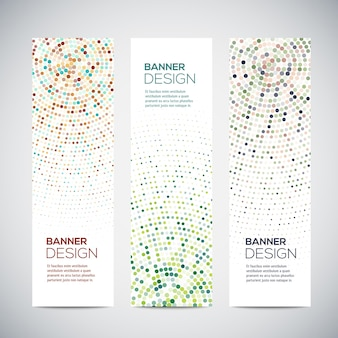 Banners with abstract colorful triangulated lined geometric background