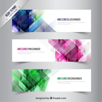 Banners with abstract shapes Premium Vector