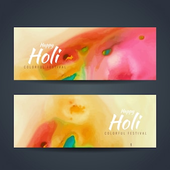 Banners with artistic watercolors for holi