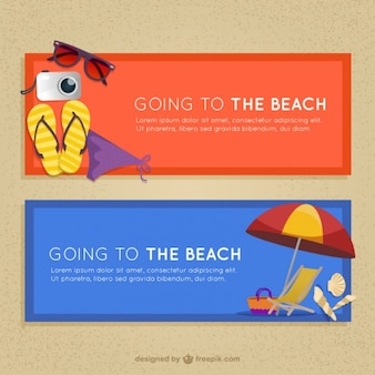 Banners with beach summer elements