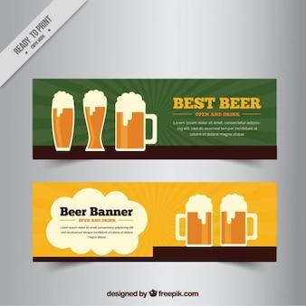 フラットスタイルでビールとバナー