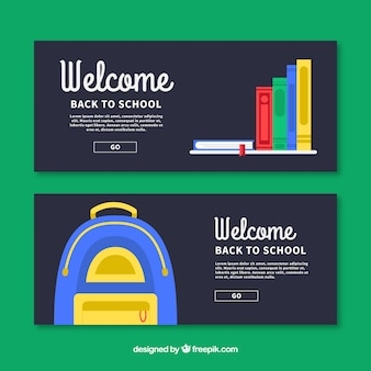 Banners with black background for back to school