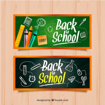 Banners with blackboard and school accesories