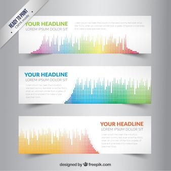 Bandiere con onda sonora colorato