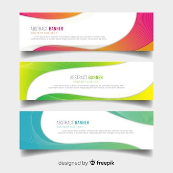 Banners with colorful wavy shapes