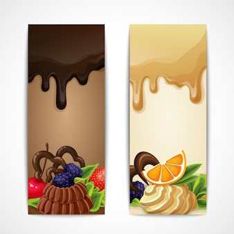 Banners with desserts