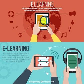 Баннеры с различными устройствами электронного обучения