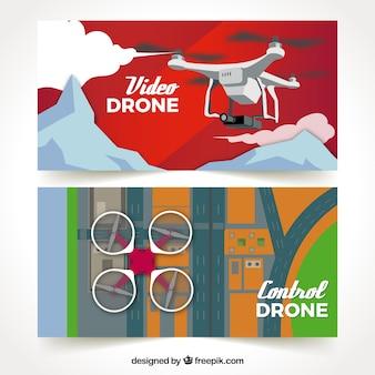 Баннеры с дронами в горах и городе