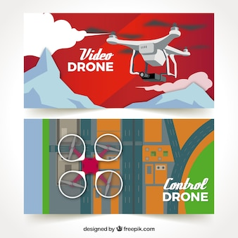 Banners with drones in mountains and city