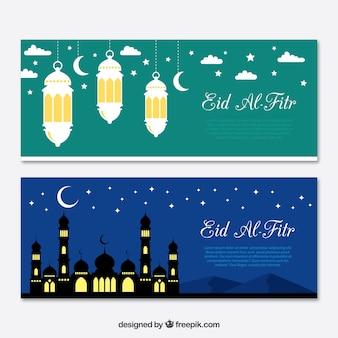 Bandiere con elementi di eid al fitr