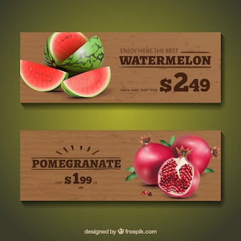 Banners with fruits in realistic style